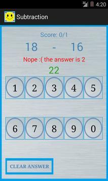 Subtraction screenshot 2