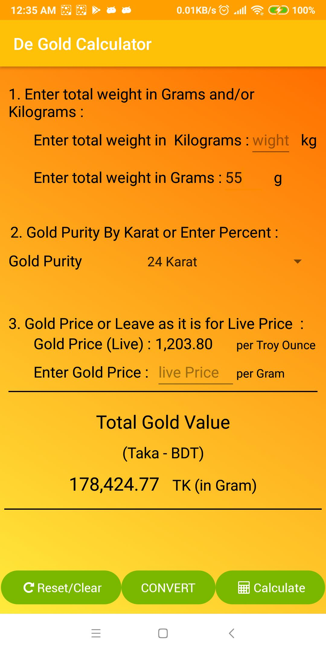 Gold Price Calculator for Android - APK Download