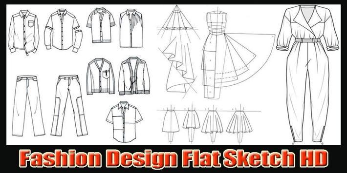 Fashion design flat sketch HD poster