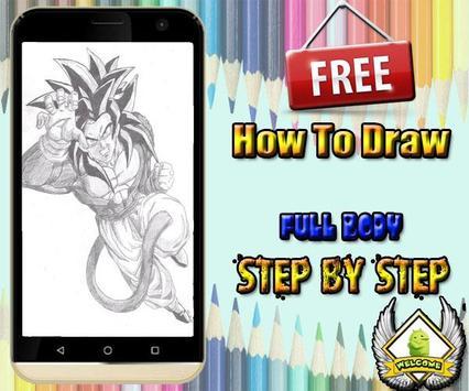How to draw goku DBZ poster