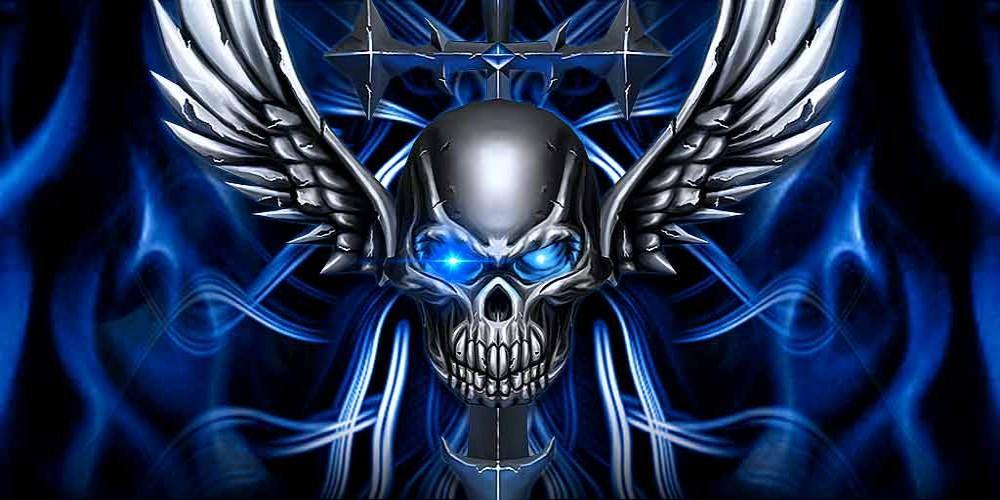 3d Blue Tech Angel Skull Theme For Android Apk Download