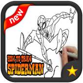 how to draw spiderman icon