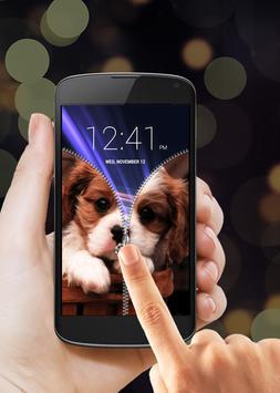 Puppy Dog Zipper Lock Screen apk screenshot