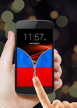 Russian Flag Zipper Lock Screen apk screenshot