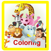 Cute animals coloring pages icon