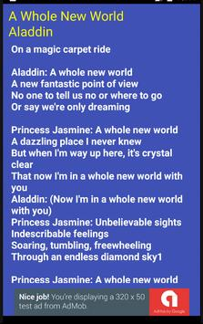 A Whole New World Lyrics apk screenshot