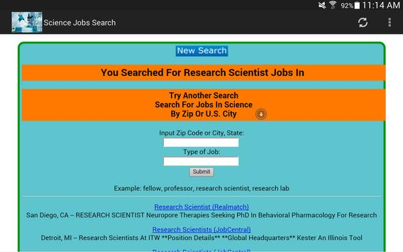 Science Jobs Search 2.0 apk screenshot