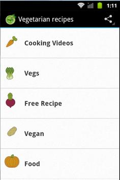 Vegetarian recipes apk screenshot