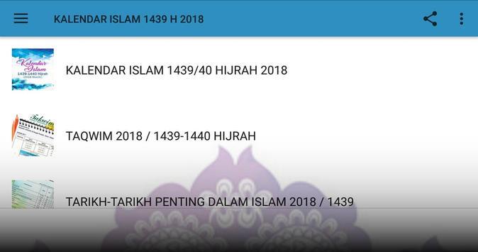 Kalendar 2018M / 1439/40H apk screenshot
