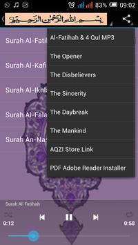 Surah Al-Fatihah & 4 Qul MP3 apk screenshot