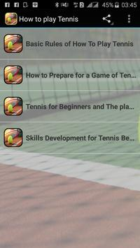 How to play Tennis poster