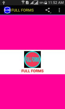 FULL FORMS poster