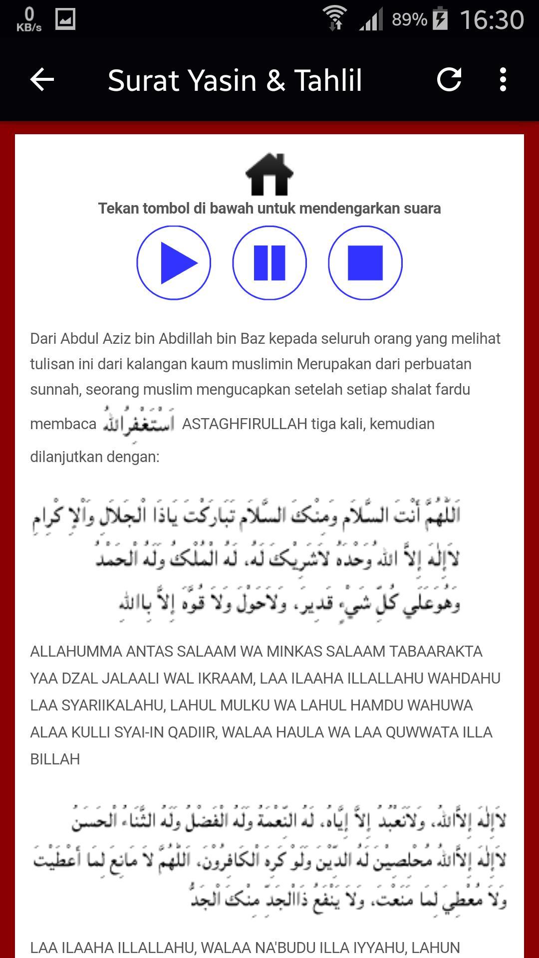 Surat Yasin Latin Terjemah Audio Dzikir Tahlil Doa For