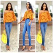 Ankara Tops + Jeans styles icon