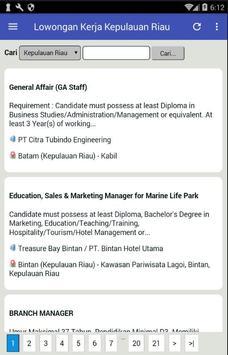 Lowongan Kerja Kepulauan Riau (KEPRI) Terbaru screenshot 4