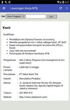 Lowongan Kerja Nusa Tenggara Barat (NTB) Terbaru apk screenshot