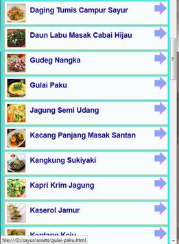 Resep Sayur Pilihan 2016 screenshot 1