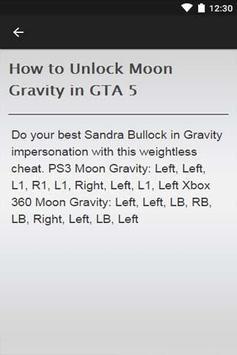 Cheats GTA 5 apk screenshot