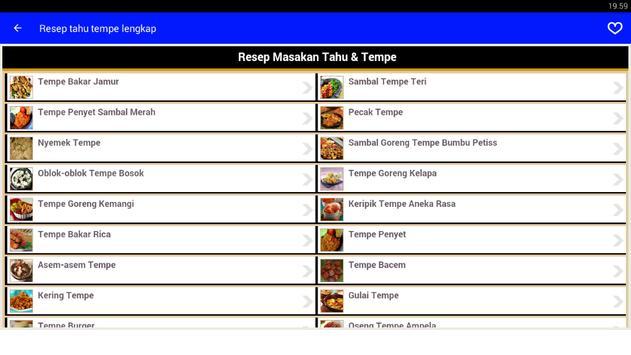 Resep masakan tahu tempe Lengkap screenshot 1