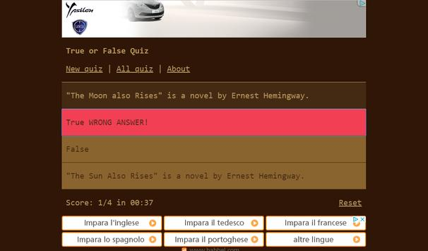 True or False Quiz screenshot 4