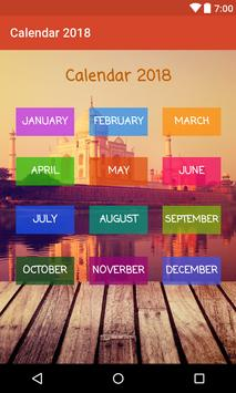 Calendar 2018 with Indian Holidays poster