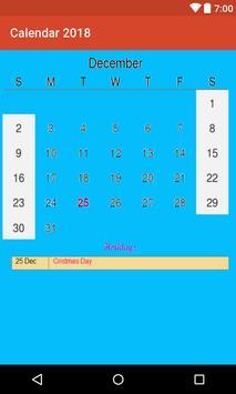 Calendar 2018 with Indian Holidays apk screenshot