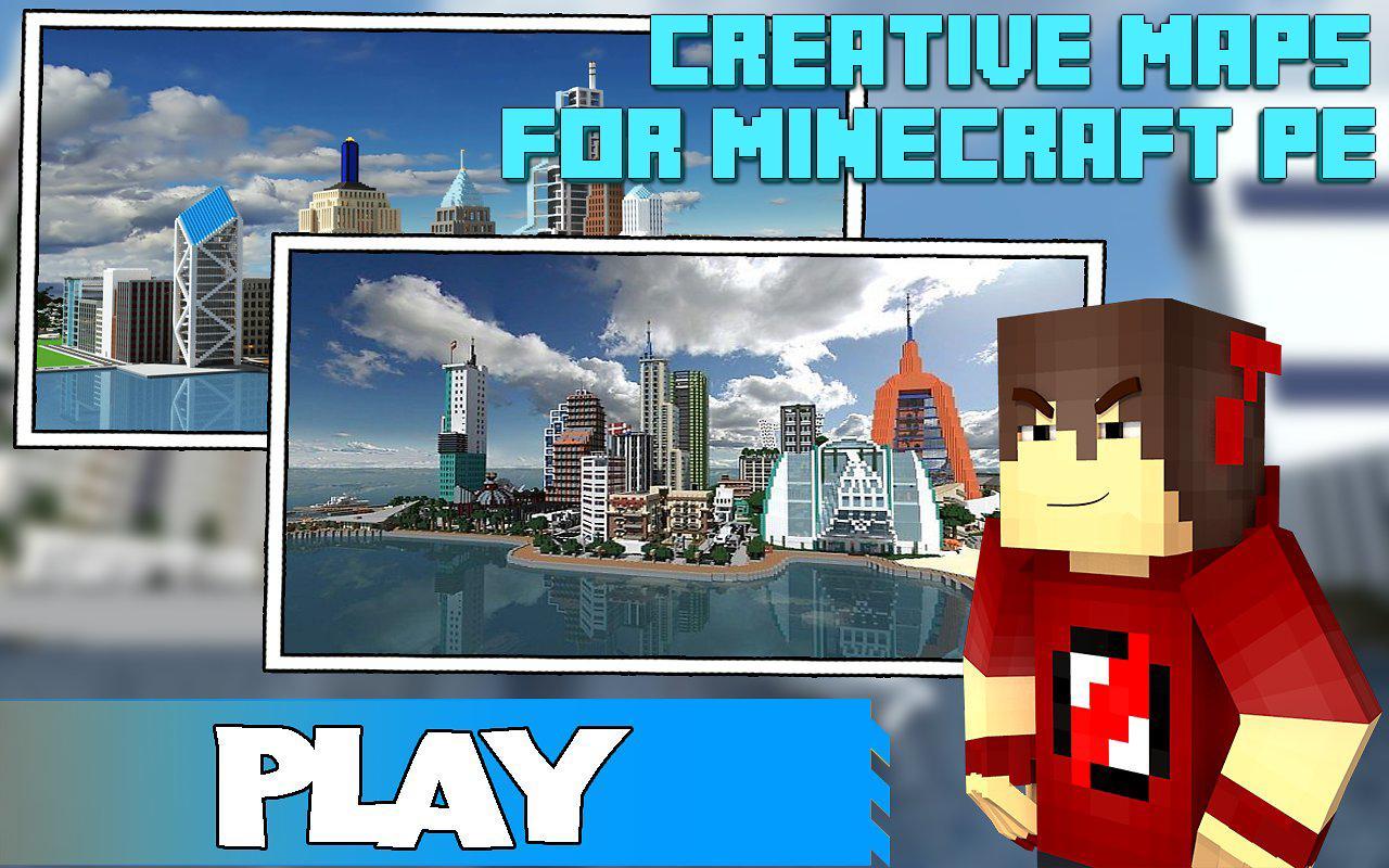 minecraft pe city map download creative