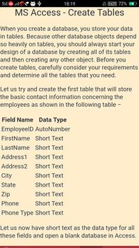 MS Access Learning apk screenshot
