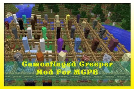 Camouflaged Creeper Mod MCPE apk screenshot