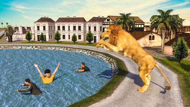 Angry Lion City Attack 3D poster