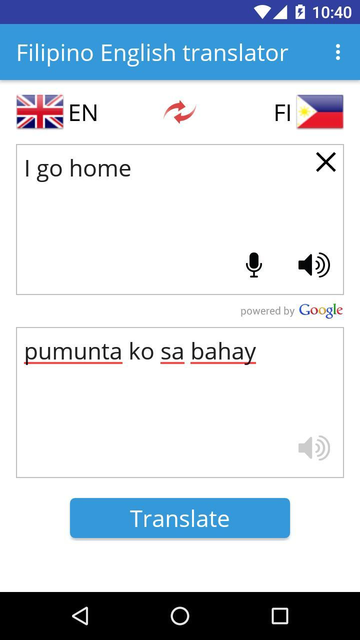 Filipino English Translator para Android - APK Baixar