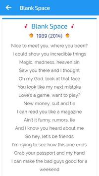 Lyrics of Taylor Swift apk screenshot