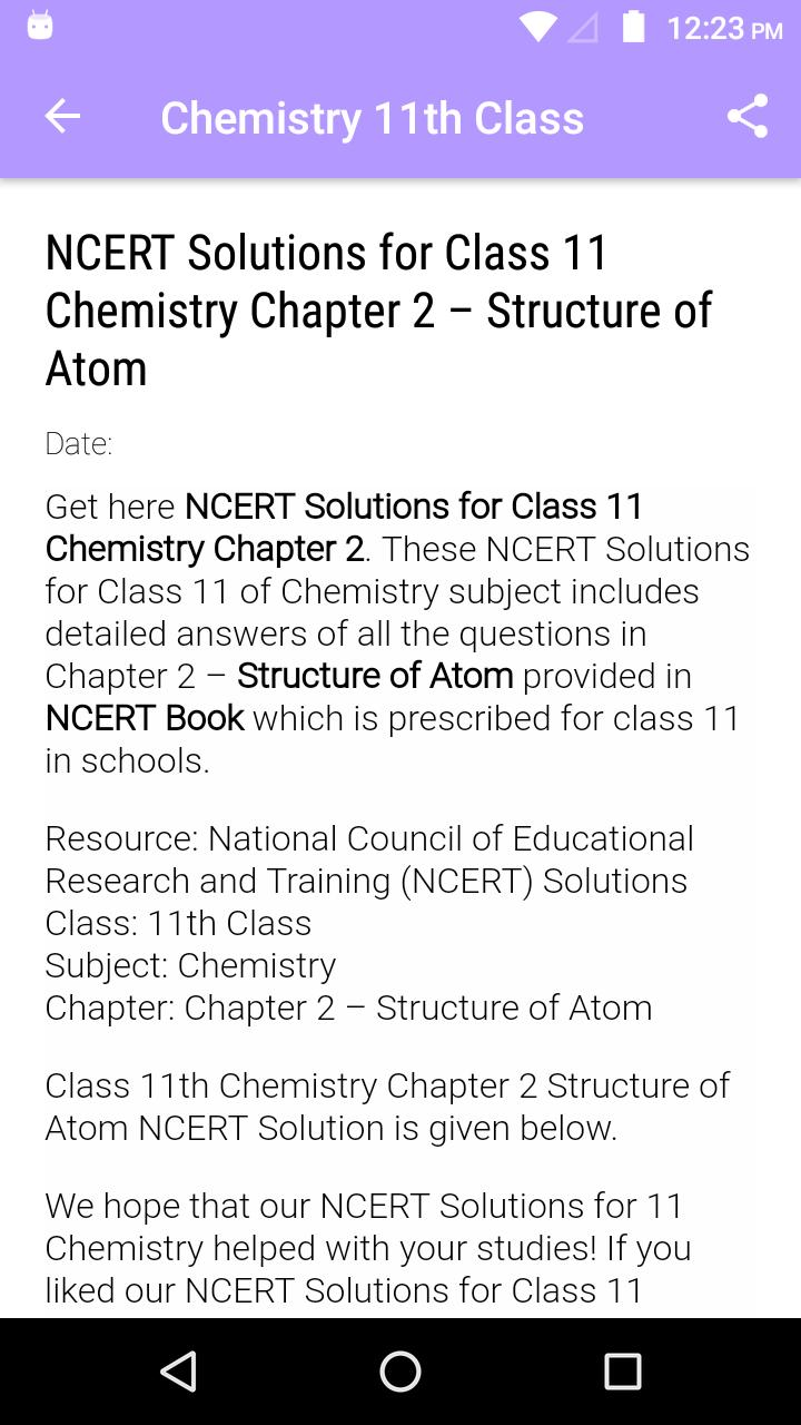 Chemistry 11th NCERT Solutions for Android - APK Download