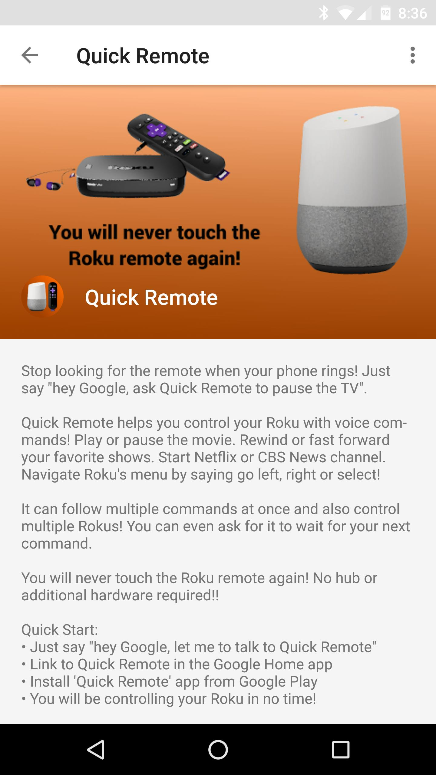 Quick Remote for Google Home/Assistant & Roku for Android