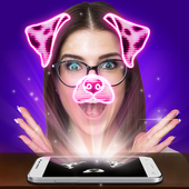 Selfie hologram edit joke icon