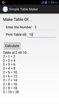 Simple Table Maker apk screenshot
