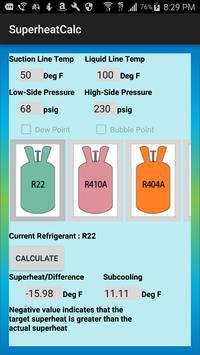 HVAC Superheat Calculator screenshot 2