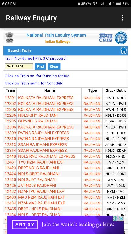 Indian Railway Enquiry App Live Train Enquiry For Android
