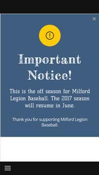 Milford Legion Baseball poster