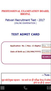 Patwari admit card poster