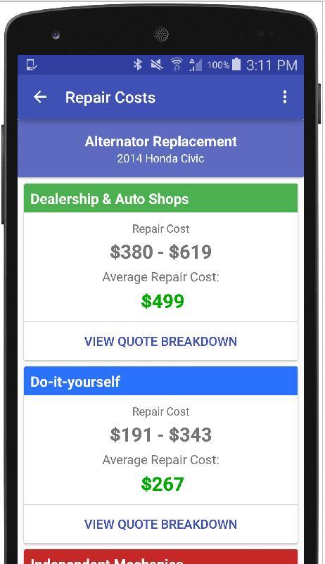 Alternator Repair Cost >> Auto Repair Estimate Car Quote For Android Apk Download