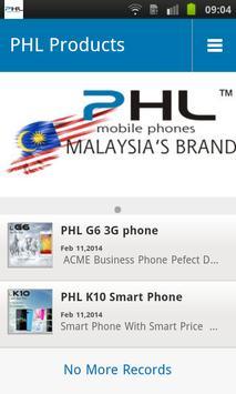 PHL mobile phone screenshot 1