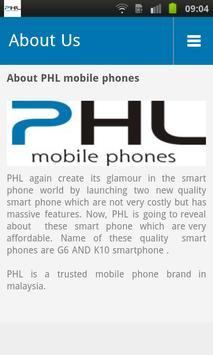 PHL mobile phone screenshot 2