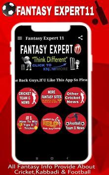 Fantasy Expert11 - Dream11 & Halaplay Tips Fifa 18 تصوير الشاشة 5