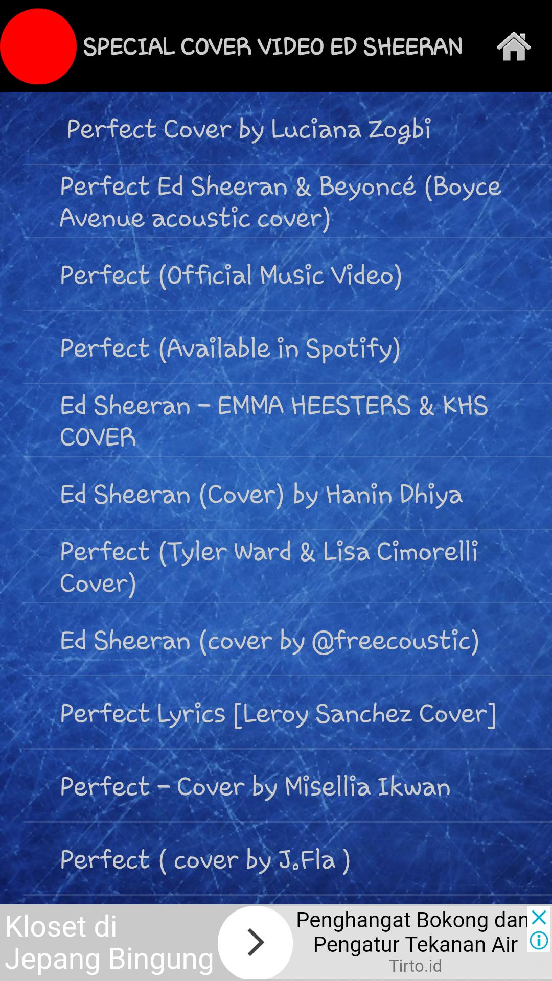 COVER VIDEO MUSIC ED SHEERAN (Perfect) for Android - APK