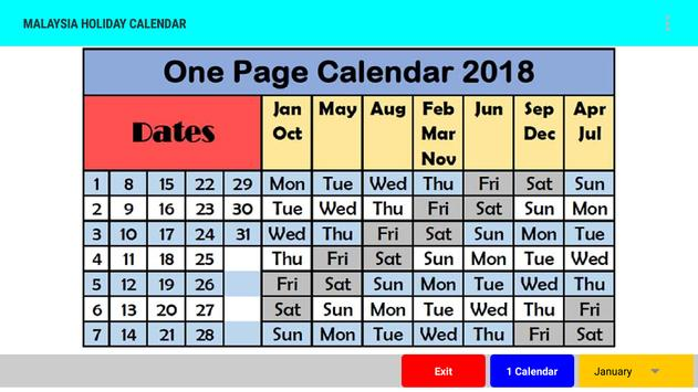 Malaysia Holiday Calendar 2018 poster