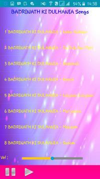 All Songs BADRINATH KI DULHANIA apk screenshot