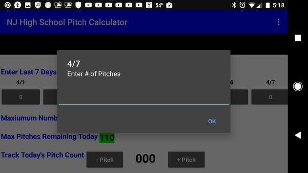 NJ HS Baseball Pitch Rule Calc apk screenshot