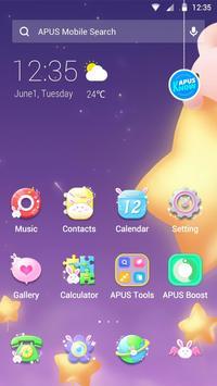 Cartoon Kawaii Pink Rabbit APUS Launcher theme poster
