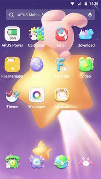 Cartoon Kawaii Pink Rabbit APUS Launcher theme apk screenshot